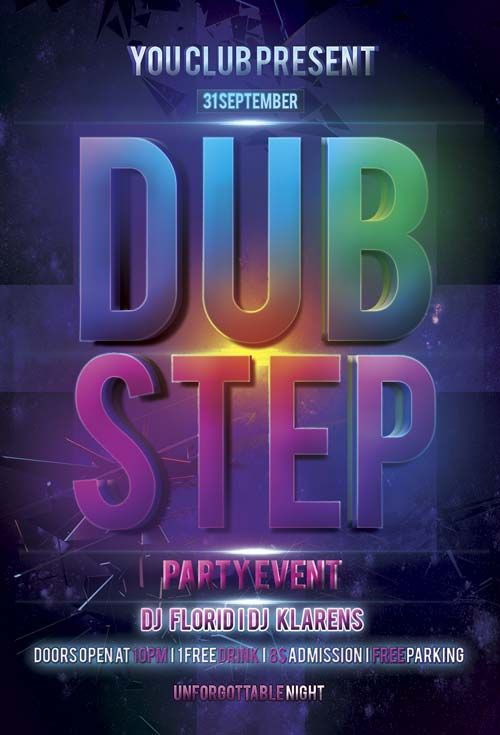 Free Dub Step Electro Flyer PSD Template - http\/\/freepsdflyer - electro flyer