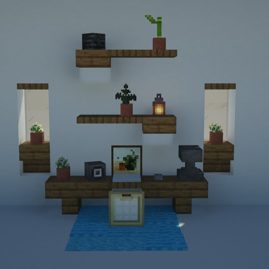 Seanbits On Instagram Here S A Little Desk Design Be Sure To Follow Me If You Haven T Alread In 2020 Minecraft Designs Easy Minecraft Houses Minecraft House Designs