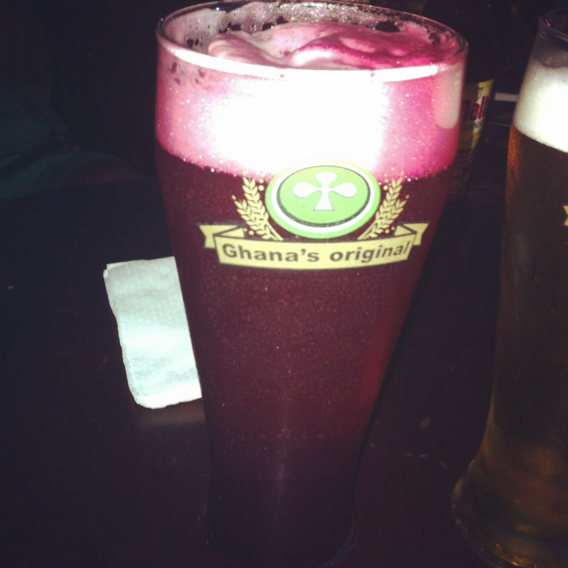 I'm not the biggest beer drinker but I am in love with this sorrel/bissap/sobolo/hibiscus flowers beer! (from The Republic bar in Osu, Ghana)  Unique, local, semi-sweet and refreshing!