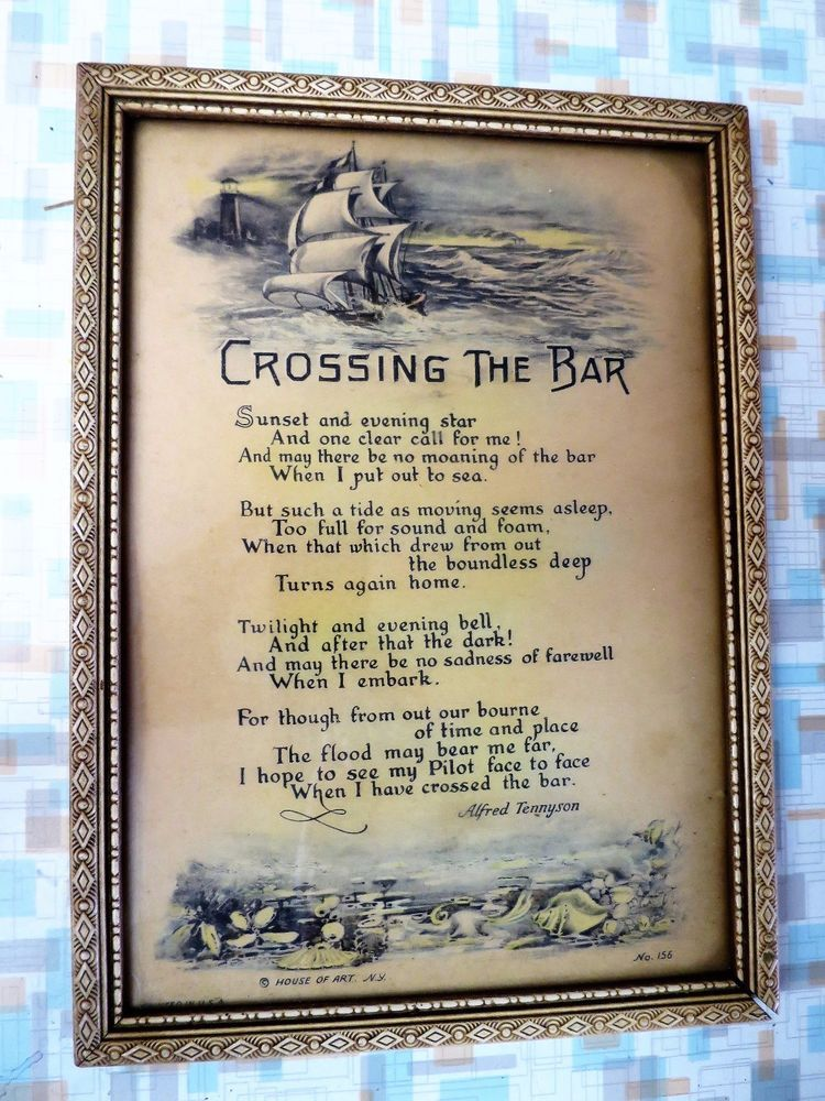 Vintage Crossing The Bar Large Framed Motto Poem By Tennyson 1920s Buzza Like Frame Poems Vintage