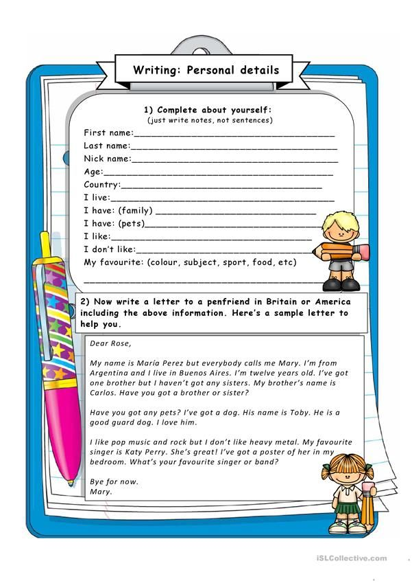 WRITING: Giving personal information | teaching | Pinterest