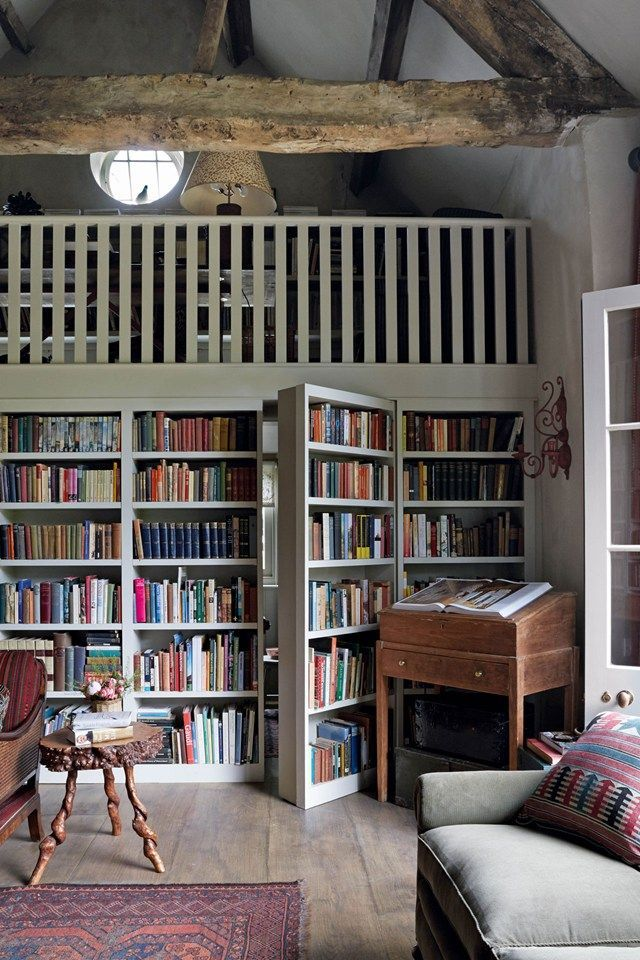 Love The Hidden Doors In Bookshelves A Stone Cottage Filled With Books English Countryside