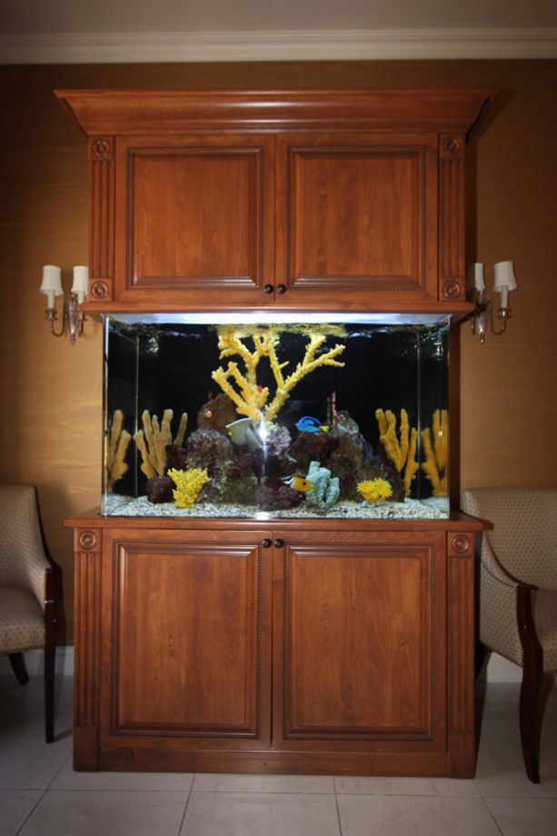 Custom stained aquarium cabinets and other custom home for Fish tank cabinets