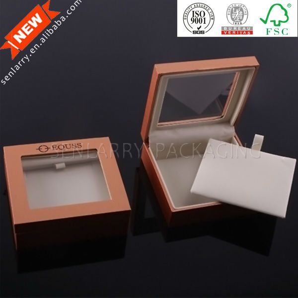 High end rigid jewelry box package with clear window and velvet insert $0.50~$2.00