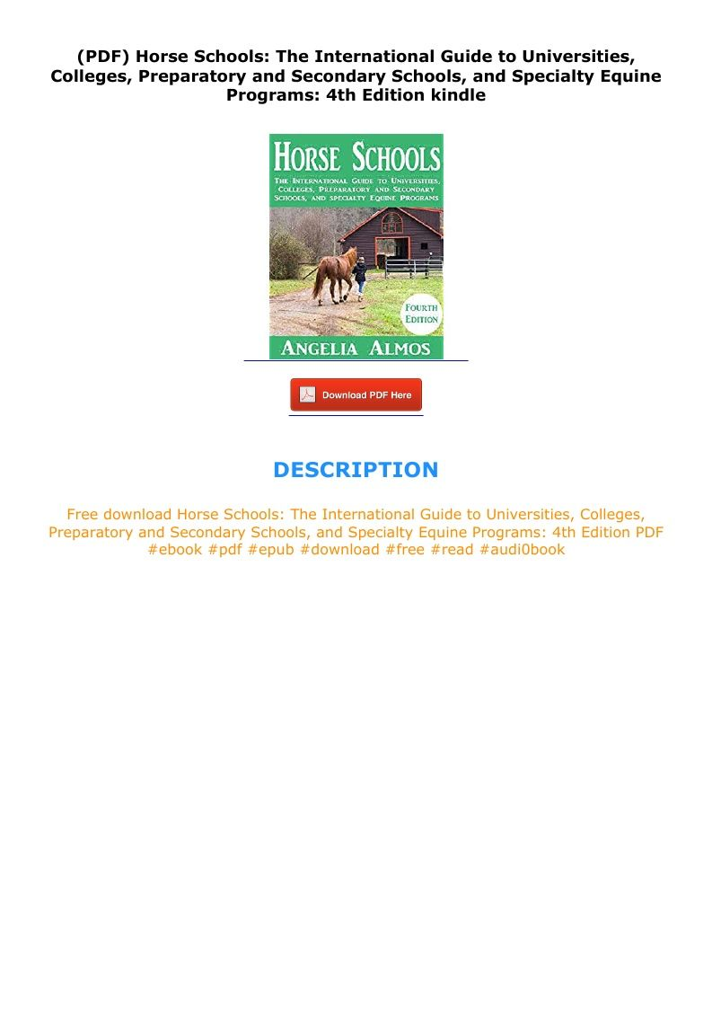 Pdf Horse Schools The International Guide To Universities Colleges Preparatory And Secondary Schools And Specialty Equi In 2020 Secondary School School Secondary