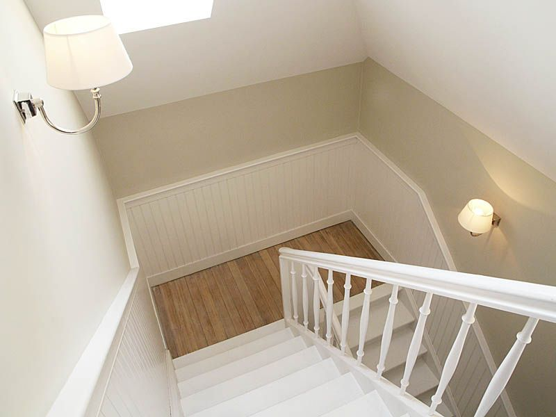 Wandverkleidung Treppenhaus #Treppenverkleidung #Holzpaneele