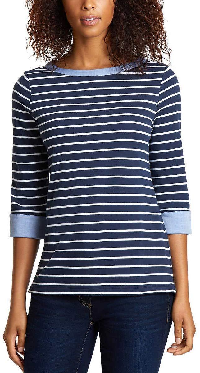 Nautica Womens 3//4 Cuffed Sleeve Chambray Casual Top