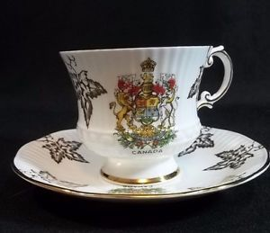 Elizabethan Tea Cup Saucer Fine Bone China Canada Made in England Maple Leaf