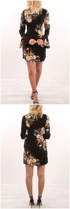 Black Random Floral Printed Long Sleeves Mini Dress US$15.95