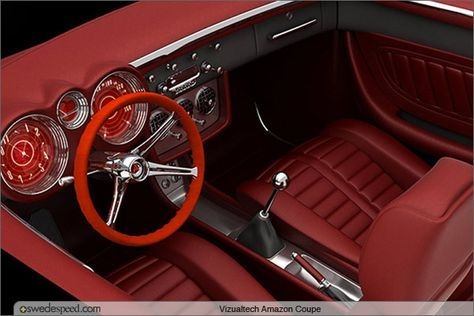 Custom Interior Console Door Panels Dash Vizualtech Reinterprets Volvo Amazon Coupe With Stunning Results Rendering Red Silver Grey With 5 Star Wheels Pro Tou