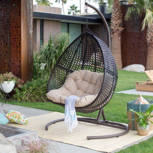 Island Bay Samos Resin Wicker Hanging Egg Loveseat with Cushion and ...