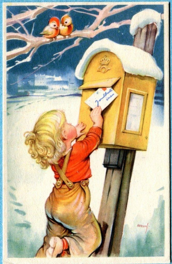Boy Mailing Letter  Ephemera    Santa Ebay And