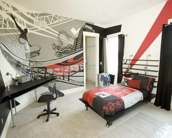 Costum Teenage Boys Bedroom Murals Design Quarto Solteiro