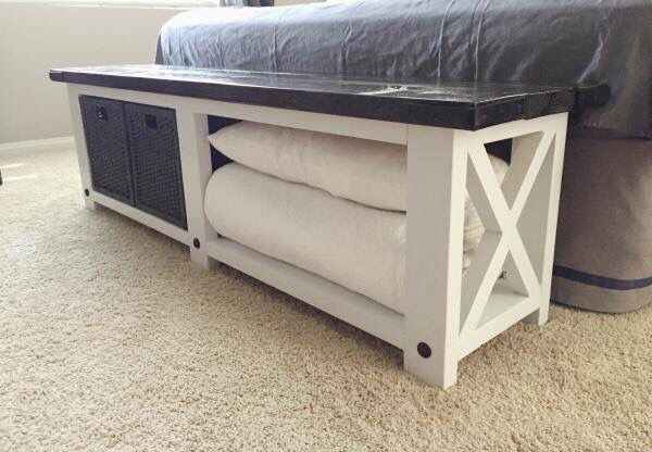 Rustic X Console Table | Home sweet home | Foot of bed, Diy ...