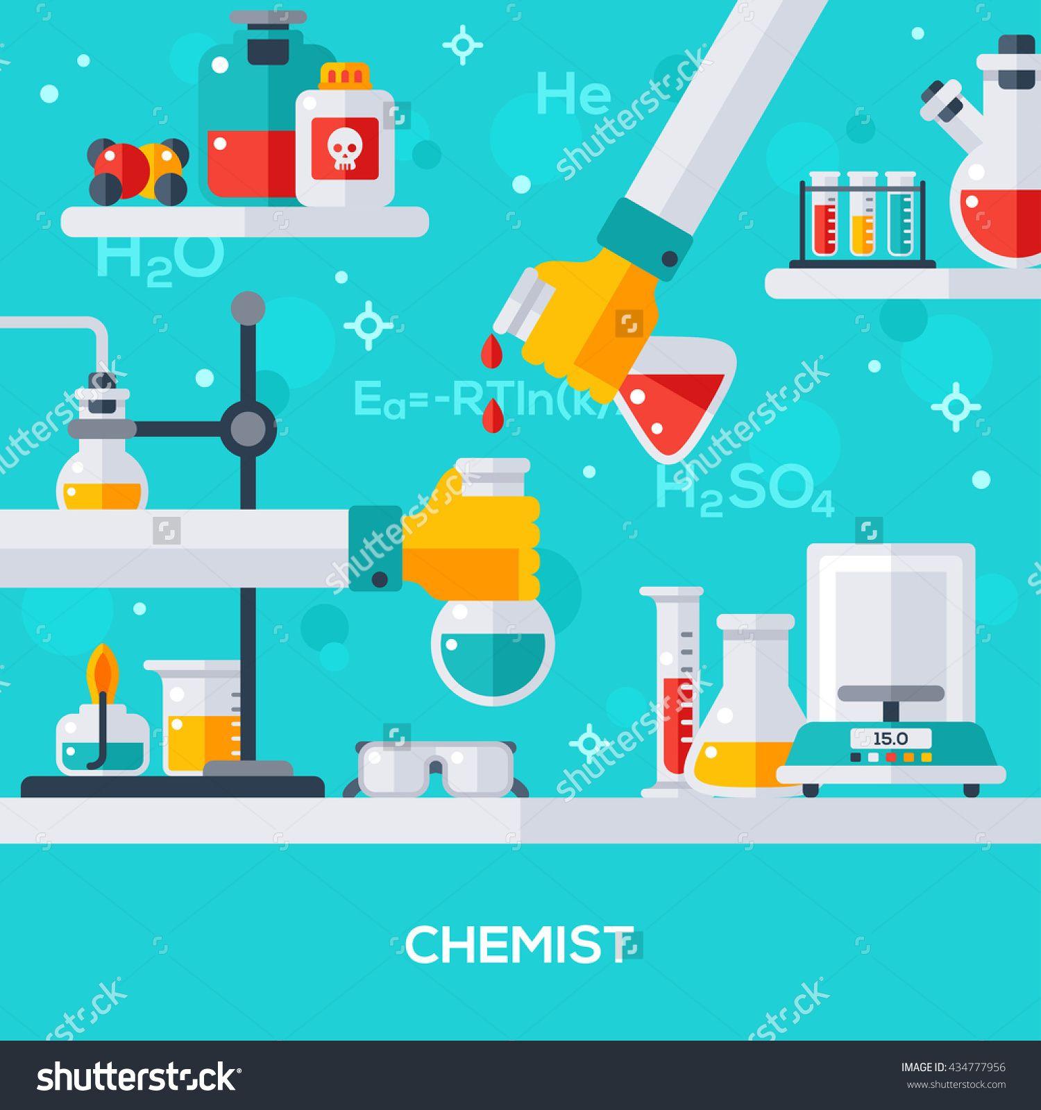 Flat design vector illustration concept of chemist