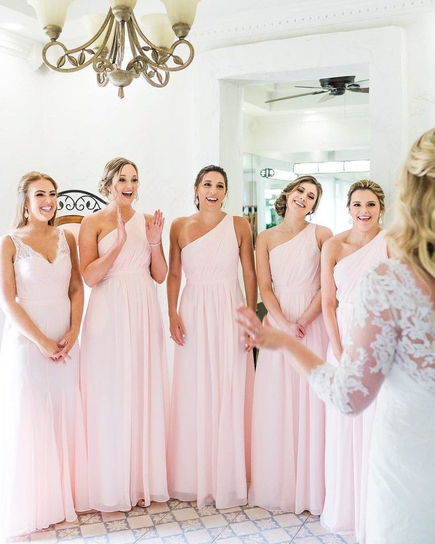 Blush Pink Chiffon Bridesmaid Dresses In 2020 Blush Pink Bridesmaid Dresses Gorgeous Bridesmaid Dresses Light Pink Bridesmaid Dresses