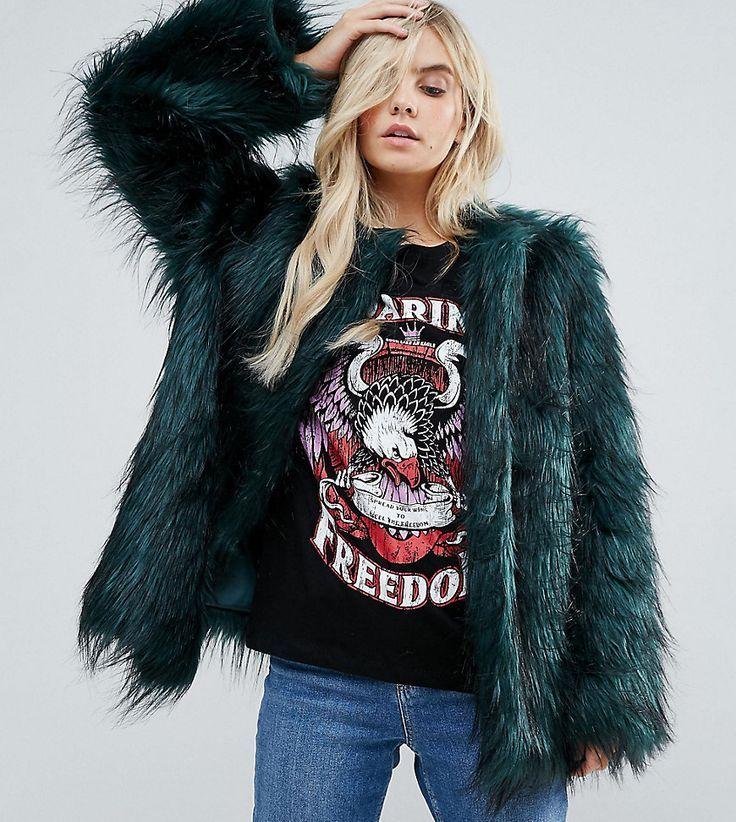 Noisy May Petite Faux Fur Coat - Green   Petite faux fur ...