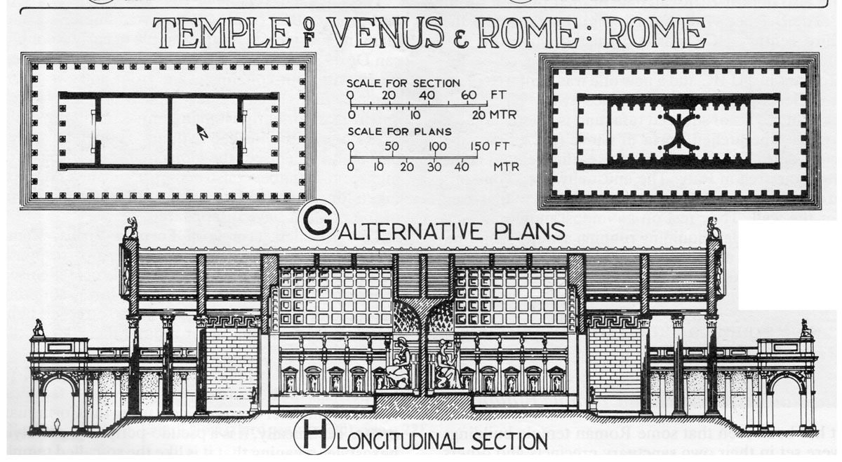 layout and elevation of the temple of venus and roma the first on layout and elevation of the temple of venus and roma the first on the left