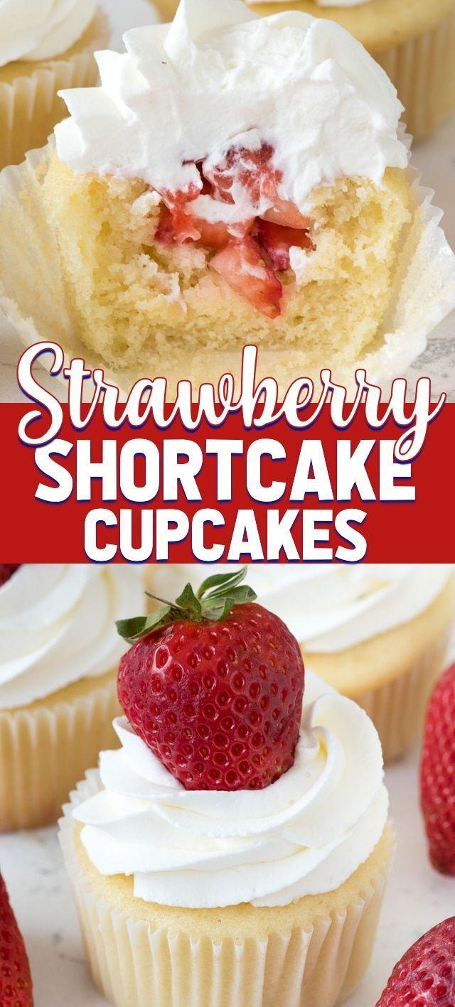 Strawberry Shortcake Cupcakes sind mein Lieblingsrezept für Vanille-Cupcakes mit ... #creamfrosting