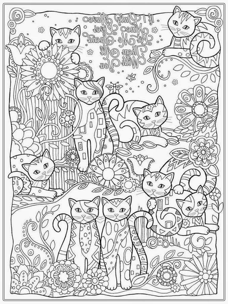 Stress relieving cats coloring - Adult Coloring Cats 14088 Bestofcoloring Com