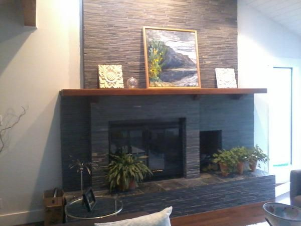 First Timer Looking To Put Stacked Slate Over Brick Fireplace