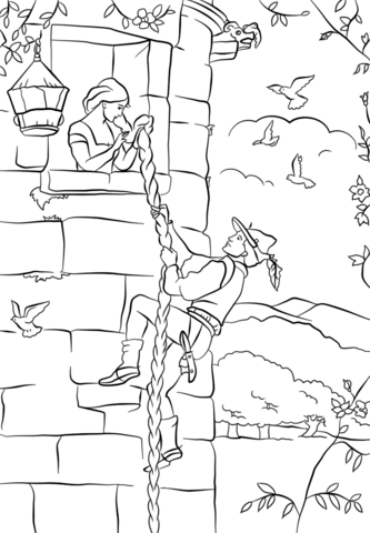 Prince Climbs up Rapunzel\'s Tower coloring page from Rapunzel ...