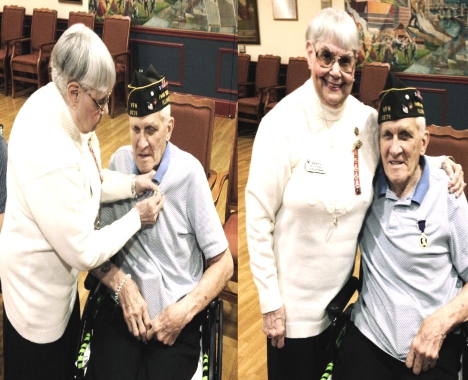 Chet is a 93 year old Norwood Crossing resident and a recipient of the Purple Heart for his service in World War II. Click the picture to hear his amazing story of surviving the sinking of the USS Liscome Bay.