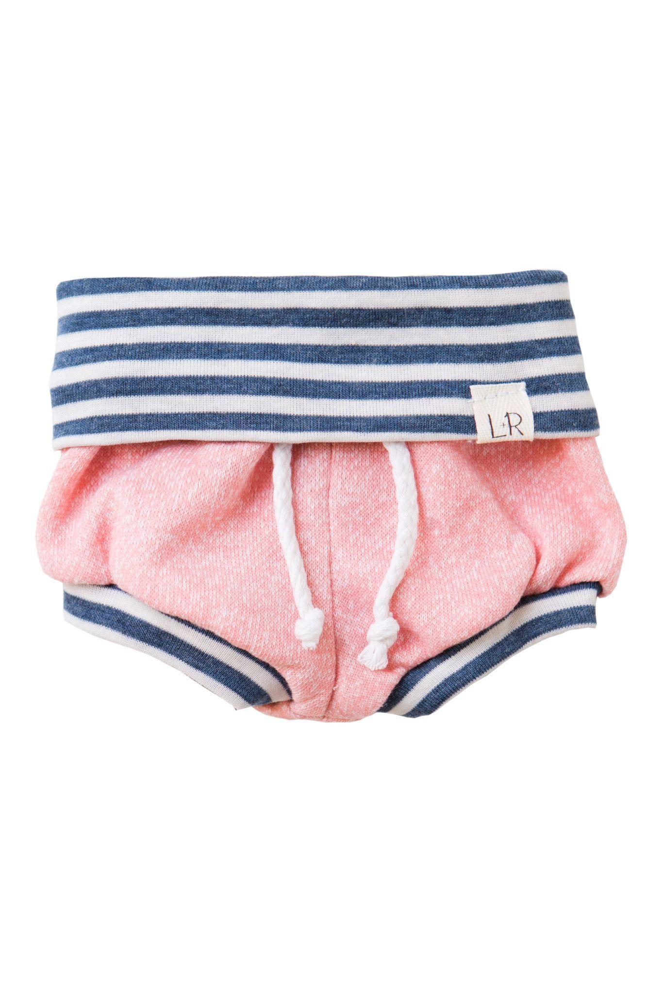Lulu + Roo   Shorties in Blush and Navy Stripe