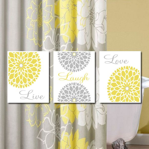 Yellow Grey Gray Modern Floral Flower by LovelyFaceDesigns on Etsy ...