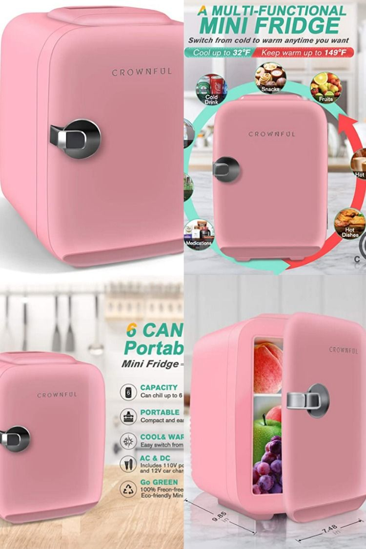 Crownful Mini Fridge 4 Liter 6 Can Portable Cooler And Warmer Personal Fridge For Skin Care Personal Fridge Mini Fridge Portable Cooler