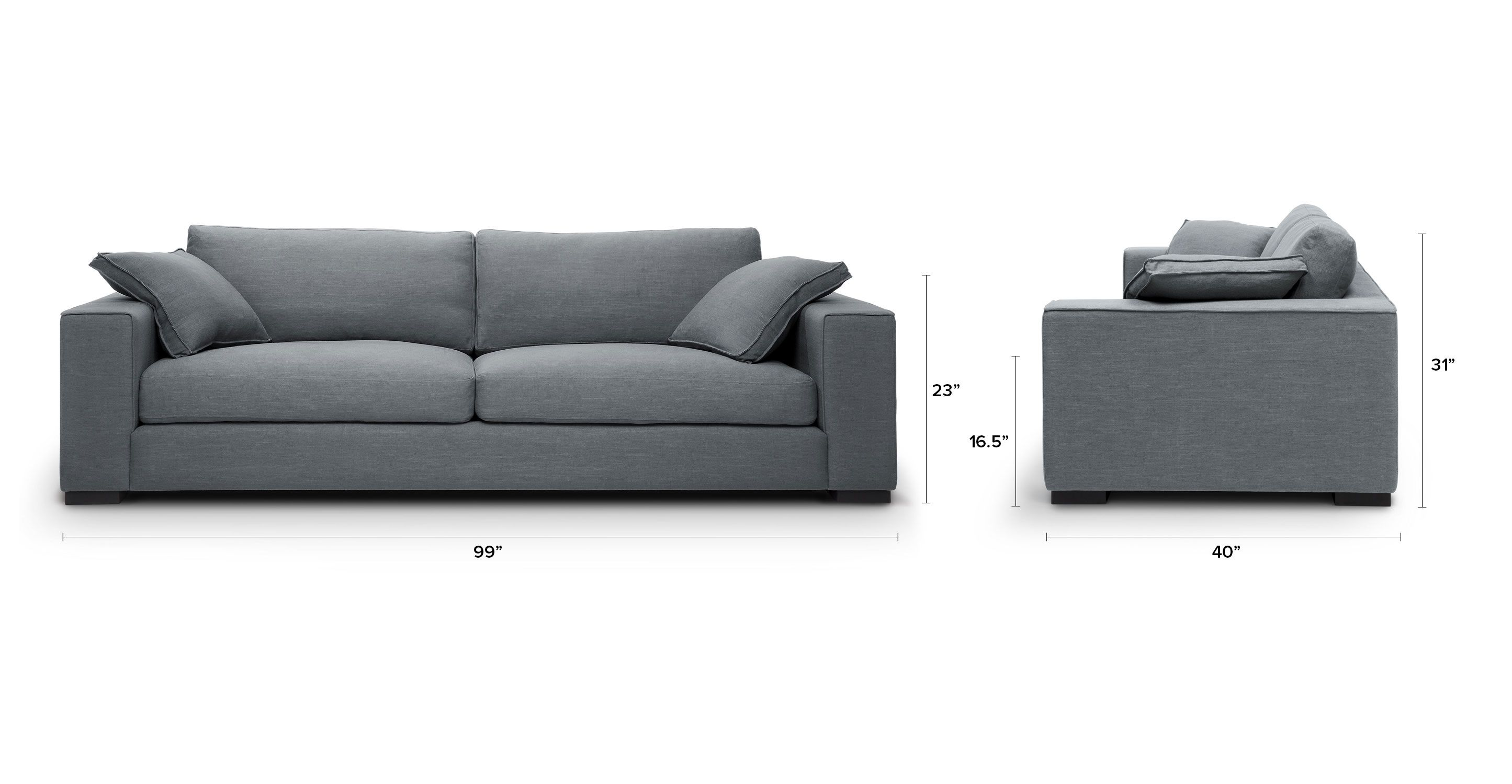 Gray Sofa Solid Wood Legs With Throw Pillows