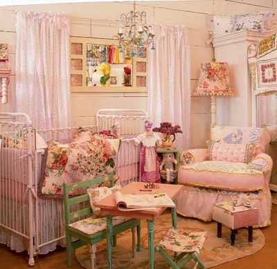 pink, room, vintage......really cute for a baby girls room. Shabby chic is cute, no way I could live in a whole house decorated in it.