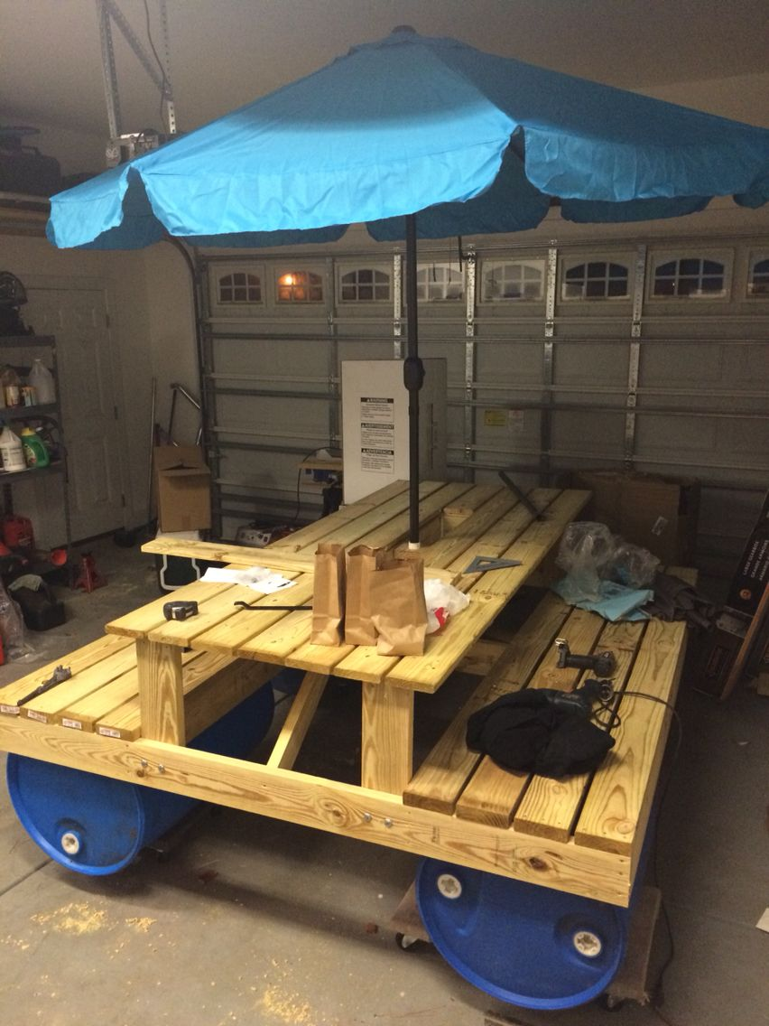 Almost Done Floating Picnic Table Diy Picnic Table