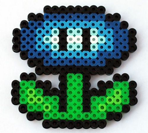 Perler Super Mario Bro Ice Flower Key Chain, Hair Barrette, Magnet, Pendent, Pin