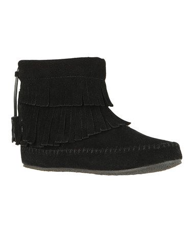 Loving this Black Fringe Dahlia Suede Ankle Boot on #zulily! #zulilyfinds