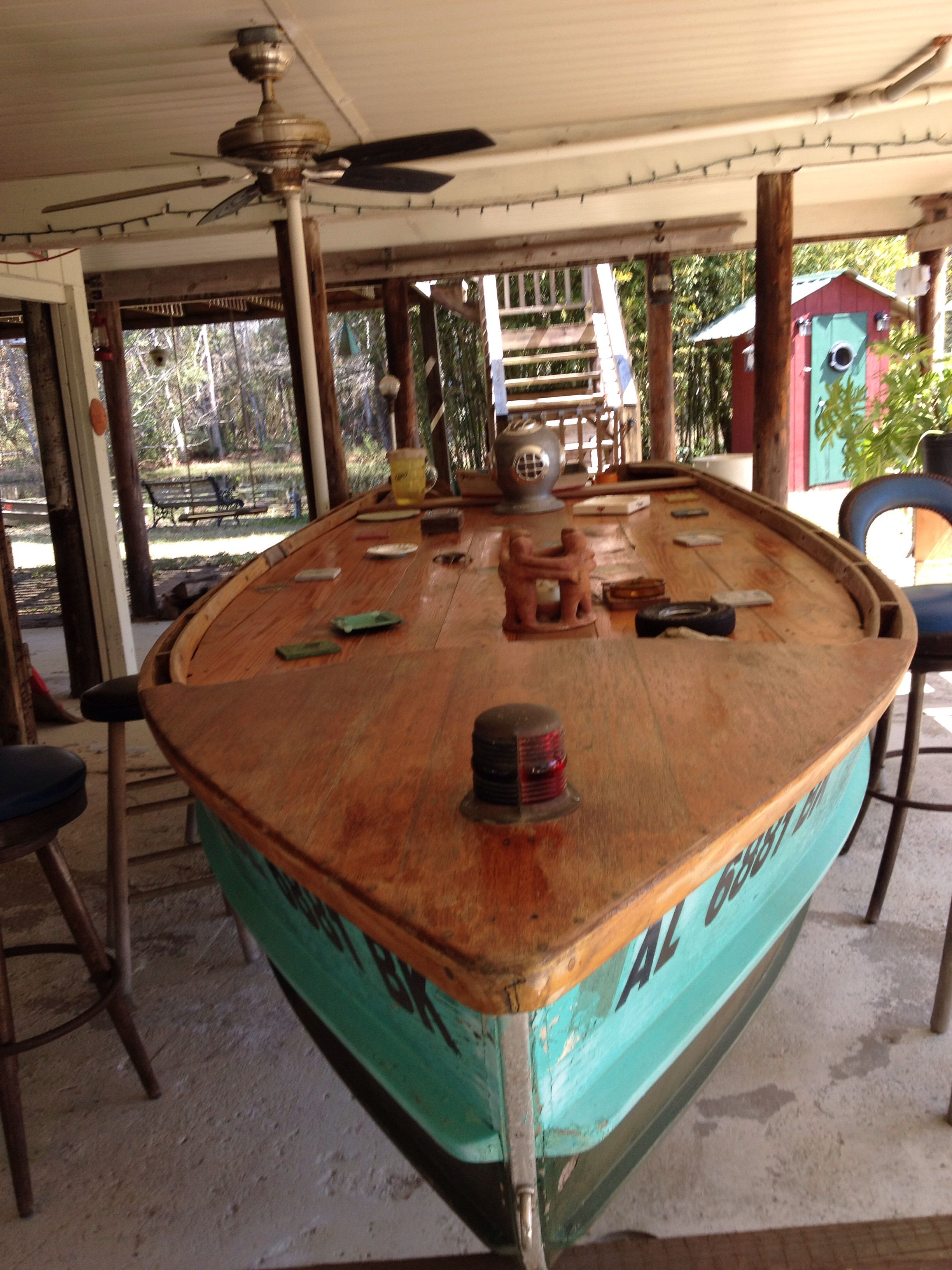 Boat Bar From Old Wooden Boat Boat Bar House Boat Boat Furniture