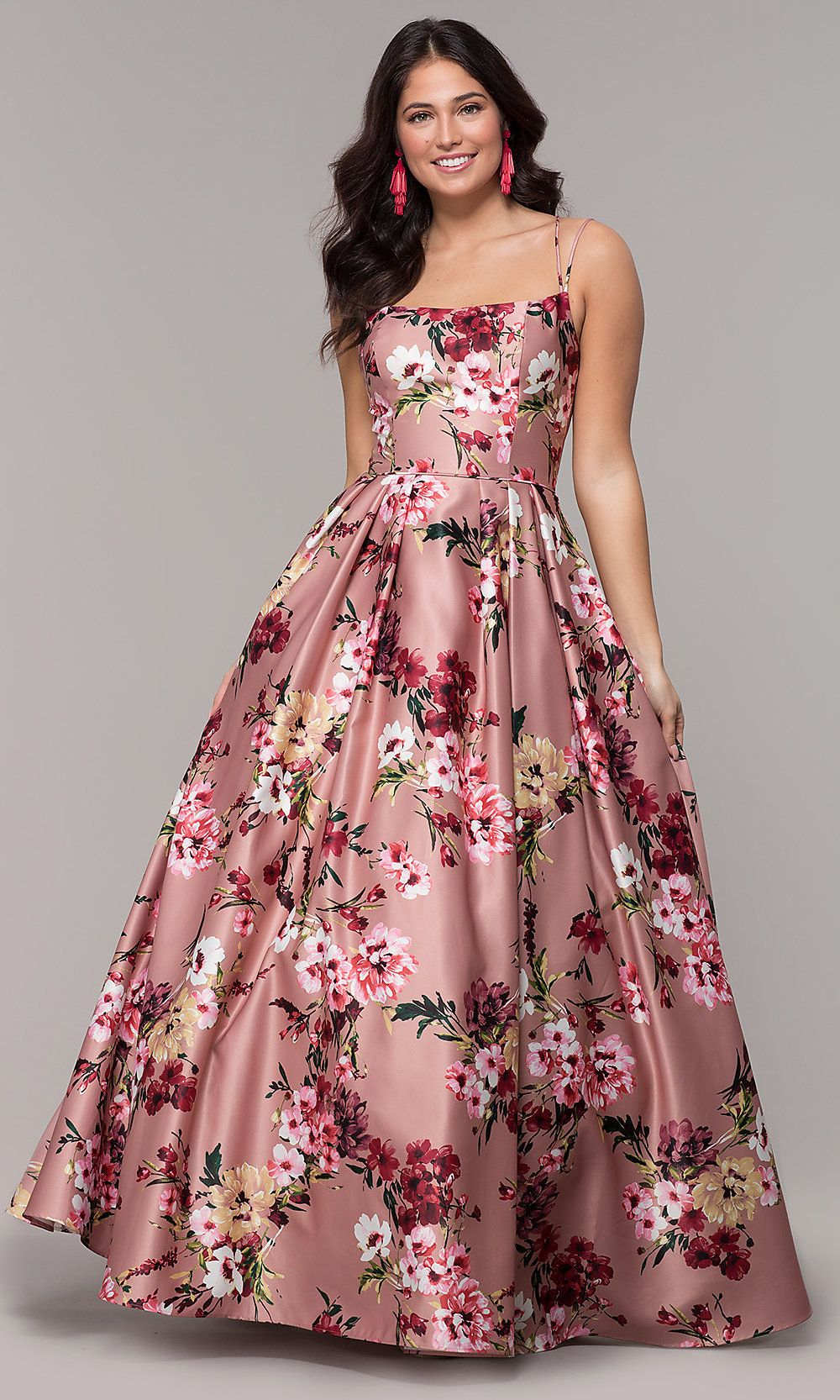 Floral Print Long Pink Square Neck Prom Dress Floral Prom Dresses Floral Dress Formal Floral Print Prom Dress