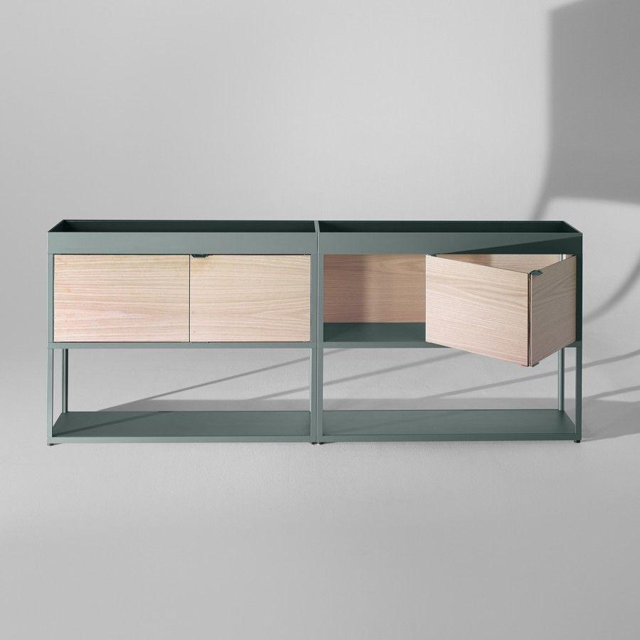 Double Buffet New Order En Metal Peint Et Panneaux De Bois Hay Mobilier De Salon Mobilier Design Mobilier