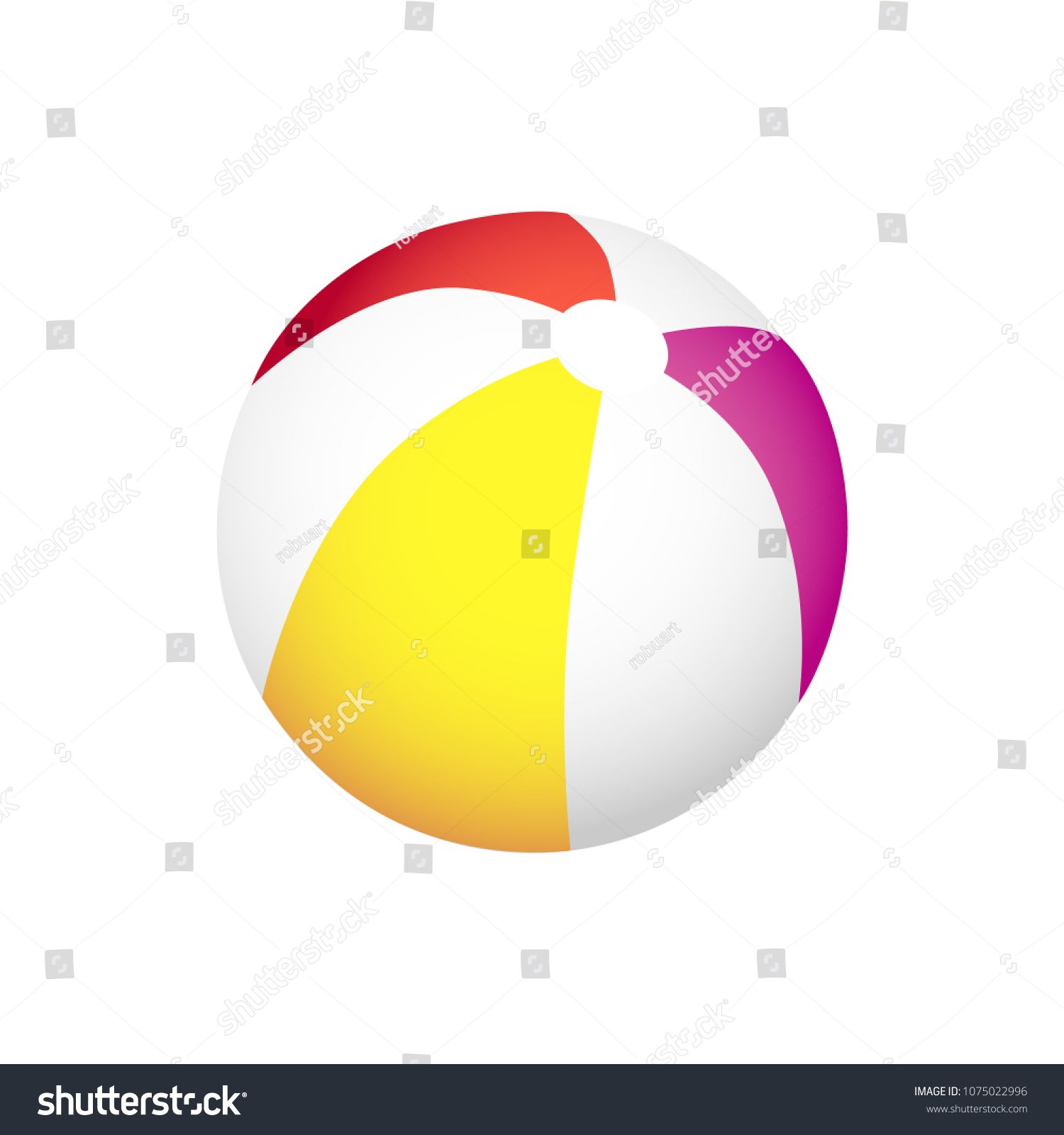 Inflatable Striped Ball To Play On Beach In Summer Volleyball To Have Fun And Do Sports On Beach Big Colo Colourful Balloons Vector Illustration Illustration