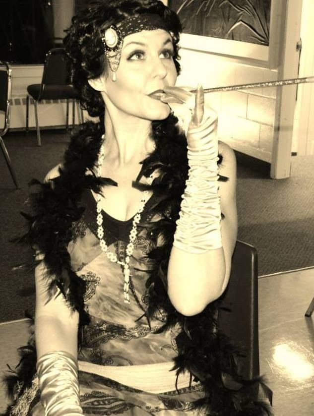 My costume for our roaring 20s casino night! Fur, pearls, headbands, cigarette holders, boas! The night was the bees knees!