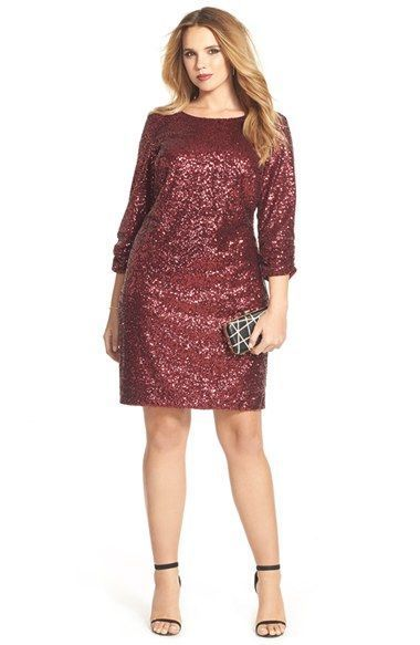 love deep reds for the holidays! plus size sequin shift dress