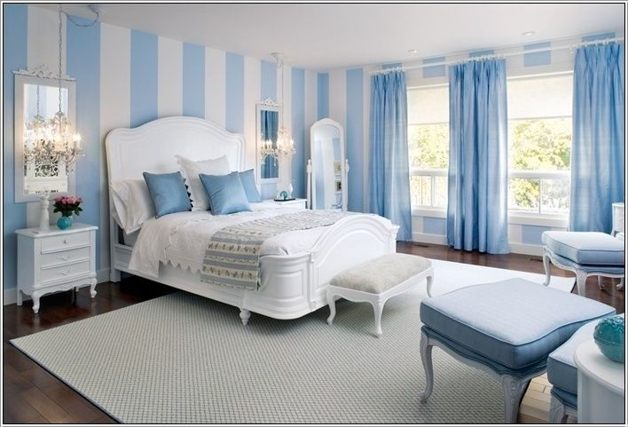 Vertical Stripes Painted In White On Walls Walls Painted In Wide Light Blue And White Vertica Striped Walls Bedroom Light Blue Bedroom Blue Bedroom Decor