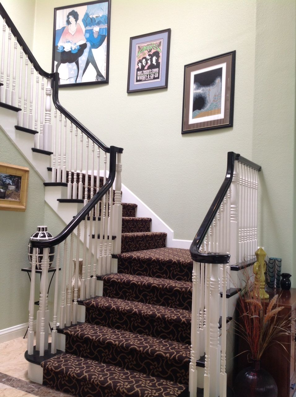 Love The Pattern On This Set Of Stairs. Replaced Solid Mauve Color Carpet.