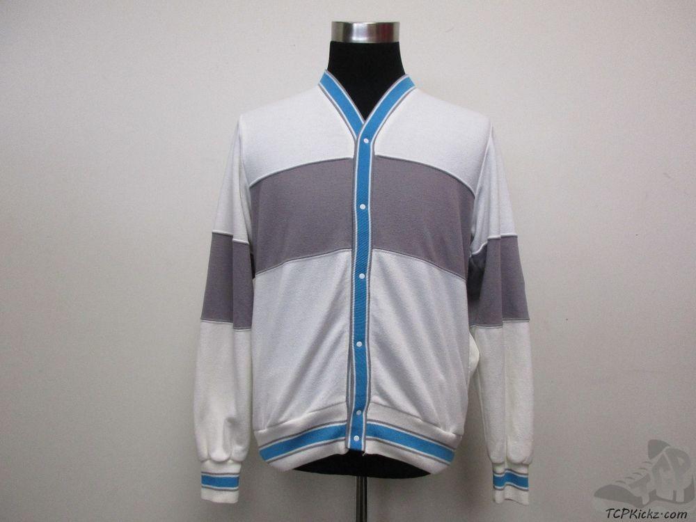 Vtg 80s 90s Nike Air Grey Tag SNAP Cardigan Sweatshirt sz L Large White Blue  #Nike #SweatshirtCrew