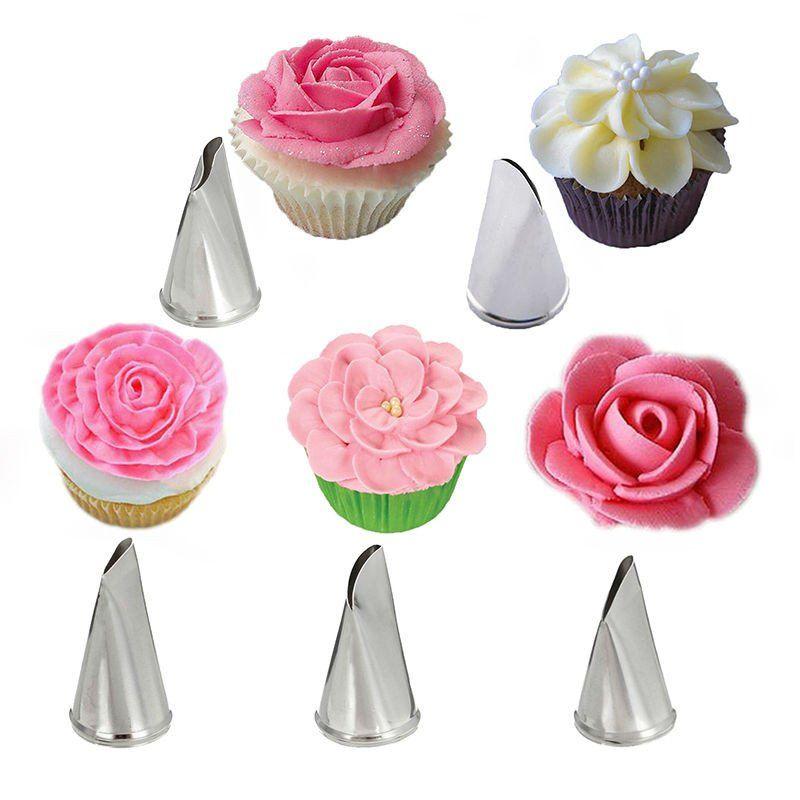 5 Pcs/Set Rose Petal Metal Cream Tips Cake Decorating Tools Steel ...