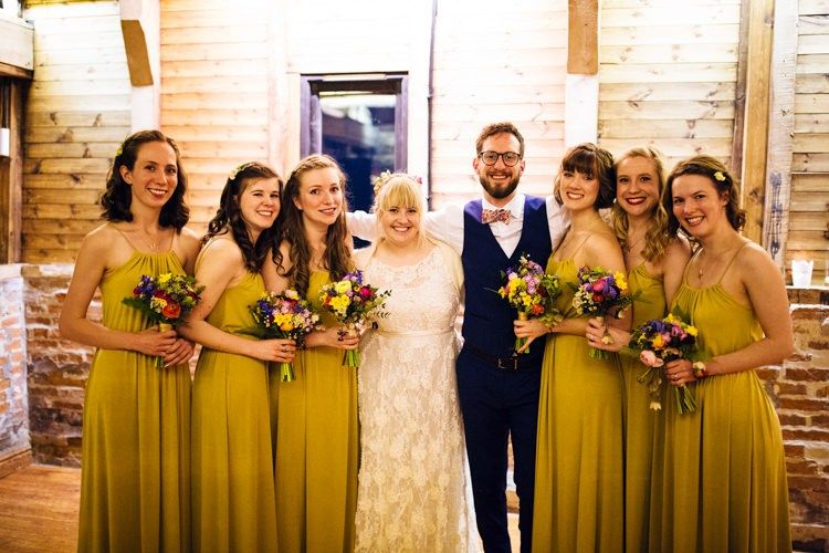 Mustard Bridesmaid Dresses Long Quirky Colourful Relaxed Fun Barn Wedding Http Www