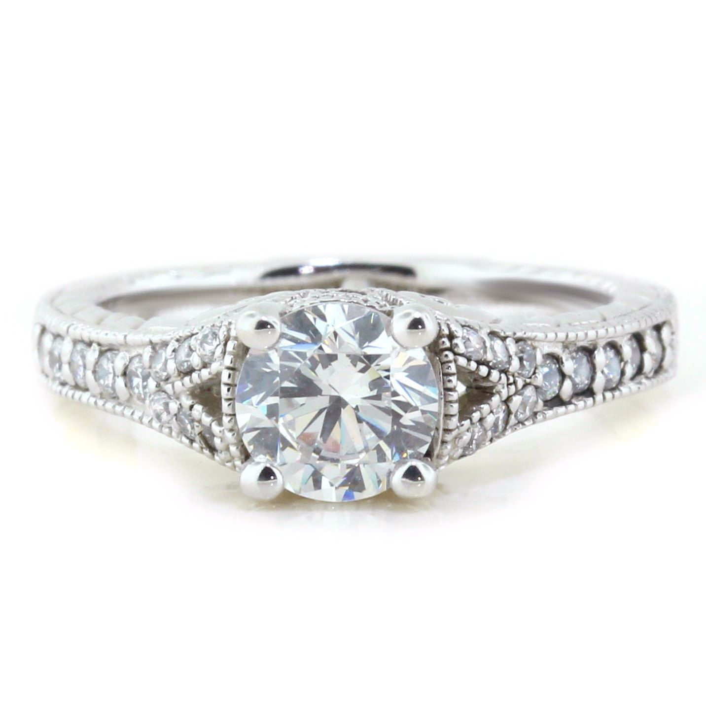 Moissanite Engagement Ring Diamond Side Stones 14k Gold