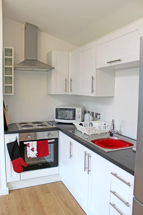 Flat Kitchen Designs: Modern White Fitted Kitchen By Granny Annexe. Granny