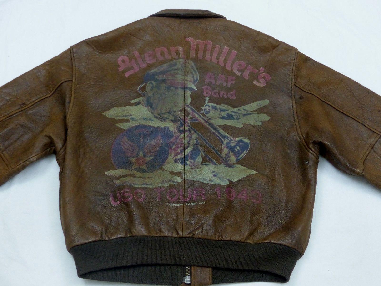 Avirex Vintage A2 PILOT'S LEATHER JACKET 1943 Glenn Miller