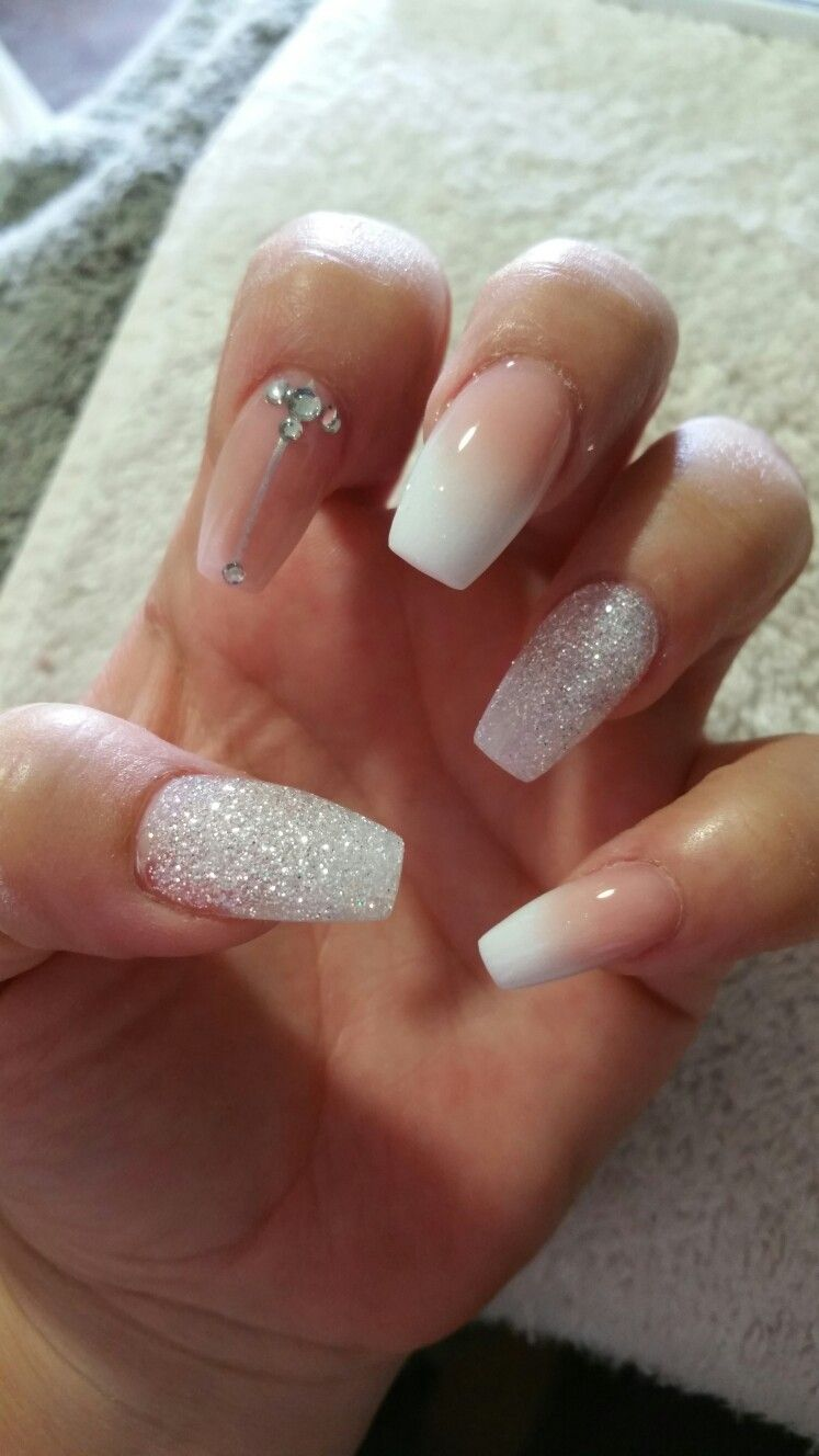 Beautiful Ombre And Crystal Glitter Acrylic Set Ombre Nails Glitter Prom Nails Silver White And Silver Nails
